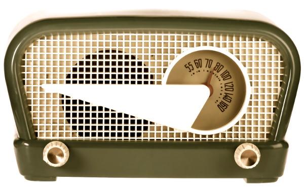 Vintage retro radio isolated on white background